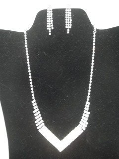 12: Rhinestone Necklace Earings Set