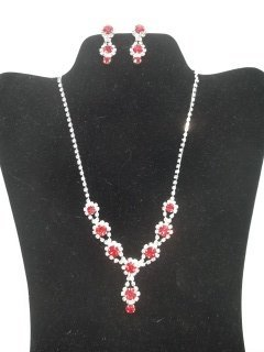 Ruby Red Rhinestone Necklace Earings