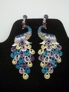 30: Rhinestone Peacock Earings