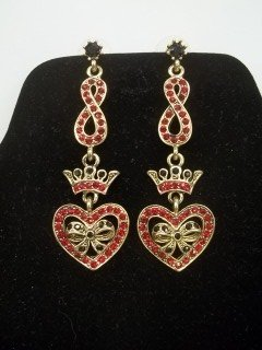 Ruby Red Heart Earings