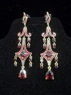 40: Ruby Red Chandelier Earings