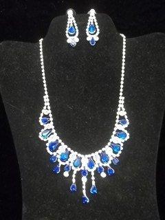 41: Cobalt Rhinestone Necklace Earings