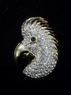 44: Rhinestone Parrot brooch