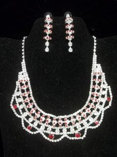 45: Ruby Red Rhinestone Necklace Earings