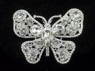 46: Rhinestone Butterfly Brooch 3.5 Inch