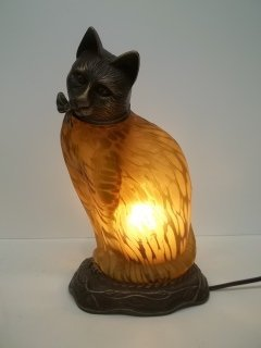 390: Nice Amber Cat lamp
