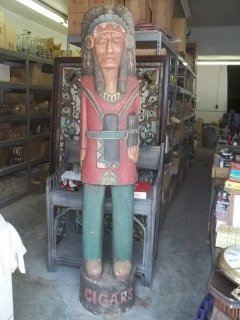 575: 7-Foot Carved Wood Cigar Advertising Indian