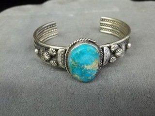 341: Betty Lee Navajo Sterling Kingman Turq bracelet