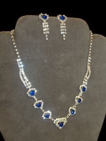 16: Cobalt Rhinestone Necklace Earring Set