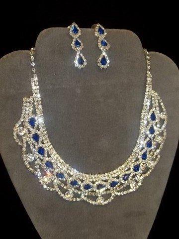 19: Great Cobalt Rhinestone Necklace Earing
