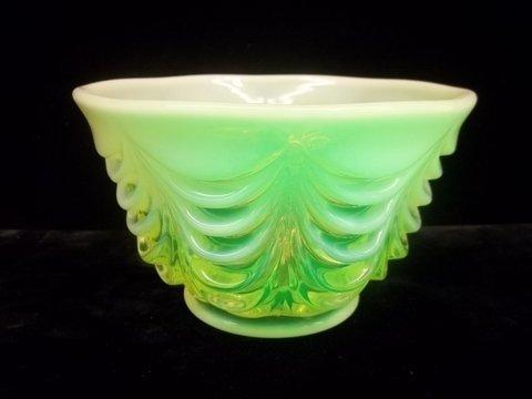 24: Vaseline Drape Bowl 6 inch