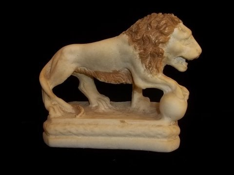 12: Nice Old Marble Lion Statue 5 Inch