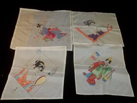 4: 4 Japanese Silk Scarves WWII era