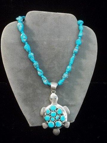 429: Emr Thompson Navajo Sterling Turtle Necklace