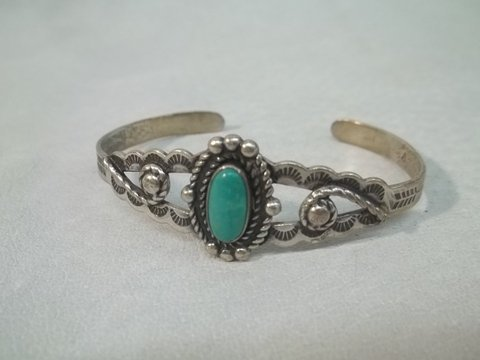 12: Native American Sterling Turquiose Bracelet