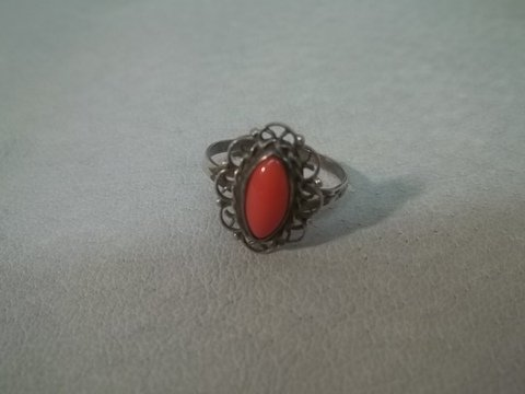 16: Sterling Silver Pink Coral Ring