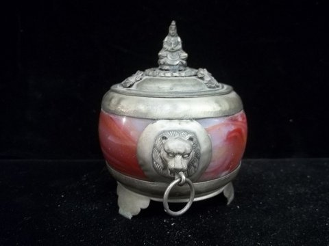 Old Oriental Oxblood Dish Marble Liner Lion Heads & God