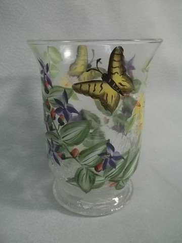 66 Fifth Ave Crystal Crackle Glass Butterfly Vase