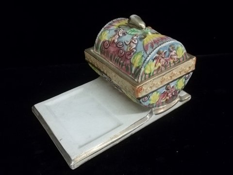 5: Old Capodiamante Hand Painted Desk Set