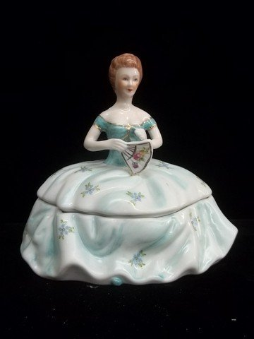 7: Hand Painted Girl Powder Dish