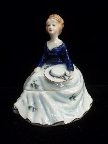 9: Hand Painted Girl Powder Dish