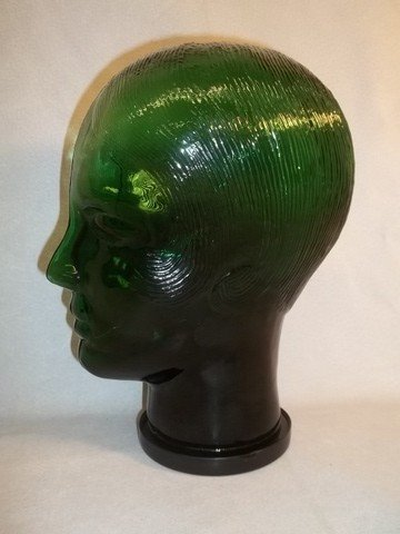 10: Emerald Green Glass Wig Head 12""