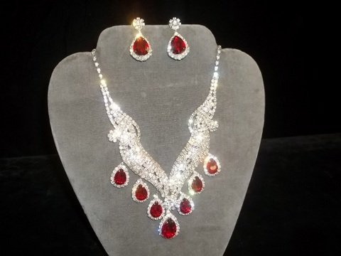 5: Ruby Red Rhinestone Necklace & Earrings