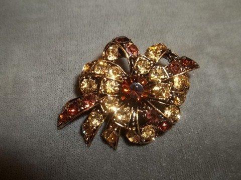 9: Amber Rhinestone brooch