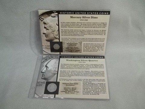 16: 1936 1935 US Silver Mercury Dime & Quarter