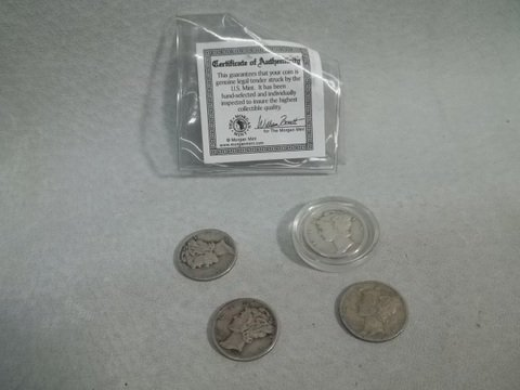 17: US Silver Mercury Dime Collection 40, 42, 37, 44