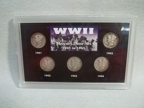21: US Mercury Silver Dime collection 1941-45
