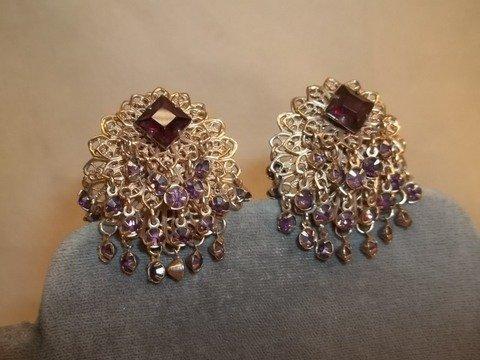 12: Vintage Amethyst Color Costume Earrings