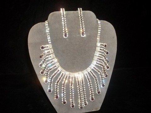 17: Amethyst Rhinestone Necklace Earrings