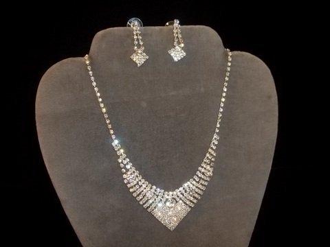 18: Rhinestone Necklace & Earrings