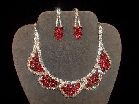 20: Ruby Red Rhinestone Necklace & Earrings