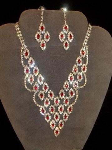 4: Ruby Red Rhinestone Necklace & Earrings