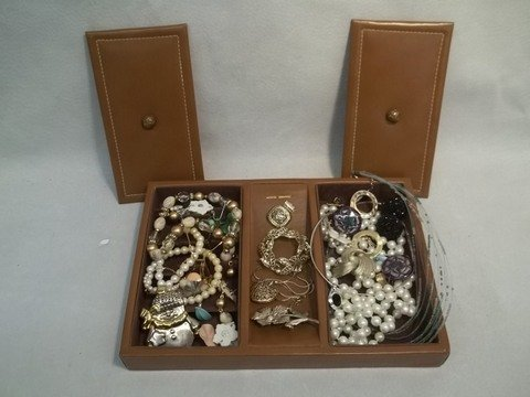 355: Leather Dresser Box FULL of Jewelry Nice Lot