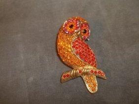 Rhinestone Owl Pendant-Pin