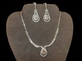 Rhinestone Teardrop Necklace & Earrings