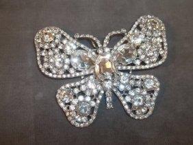 9: Large Rhinestone Butterfly Brooch