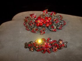 Ruby Red Rhinestone Barrette Set