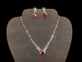 14: Rhinestone Necklace & Earrings