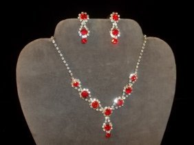 Ruby Red Rhinestone Necklace & Earrings