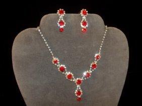 17: Ruby Red Rhinestone Necklace & Earrings