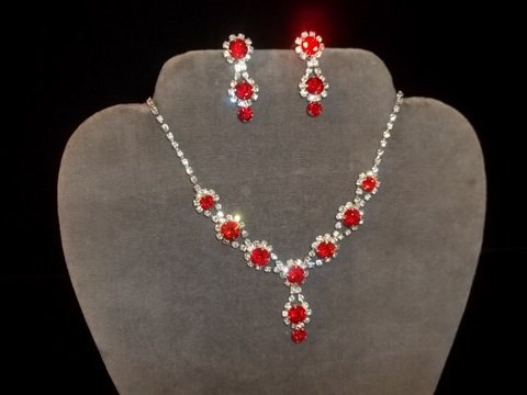 7: Ruby Red Rhinestone Necklace Earrings