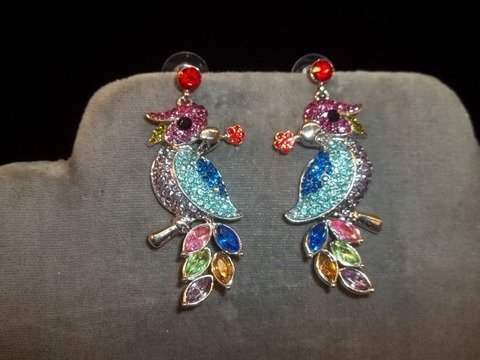 19: Rhinestone Parrot Earrings