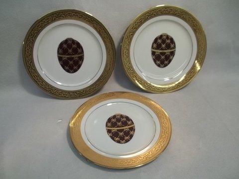 "6: 3 Muirfield Magnificence Fabrige Egg Plates 8.5"""