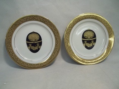 """7: 2 Murfield Magnificence Fabrige Egg Plates 8.5"""""""