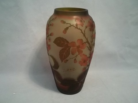 12: Contemporary Galle Dogwood Amber Vase 12 Inch