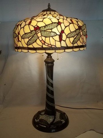 131: Tiffany Style Stained Glass Dragonfly Lamp